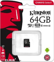 Карта памяти Micro SD 64GB Class 10 U1 Kingston SDCS/64GBSP