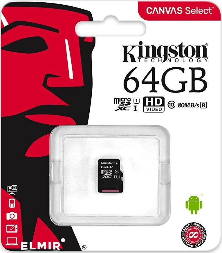 Карта памяти MicroSD Kingston 64Gb  class10